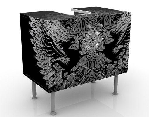 Waschbeckenunterschrank - Drachenflügel - Badschrank Schwarz