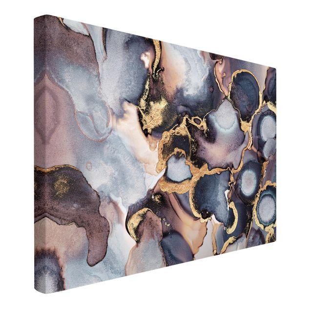 Leinwandbild - Marmor Aquarell mit Gold - Querformat 2:3