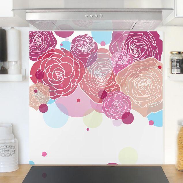 Glas Spritzschutz - Roses and Bubbles - Quadrat - 1:1