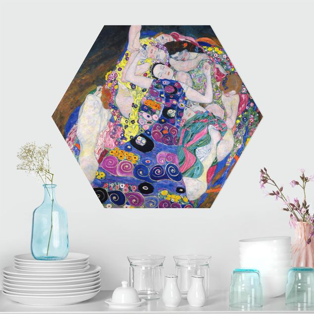 Hexagon Bild Alu-Dibond - Gustav Klimt - Die Jungfrau