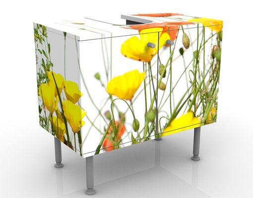 Waschbeckenunterschrank - Wild Flowers - Blumen Badschrank Weiß