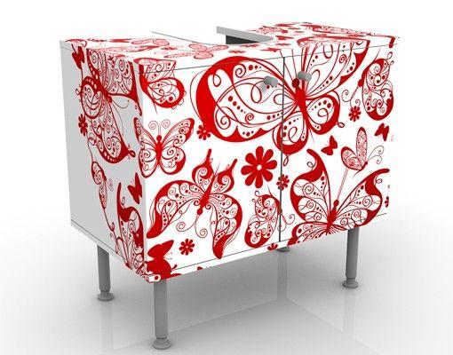 Waschbeckenunterschrank - Herz aus Schmetterlingen - Badschrank Weiß Rot