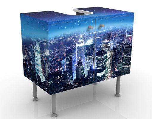 Waschbeckenunterschrank - Illuminated New York - Badschrank Blau