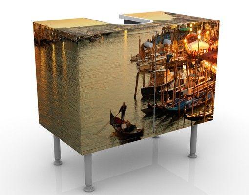 Waschbeckenunterschrank - Großer Kanal von Venedig - Badschrank Braun