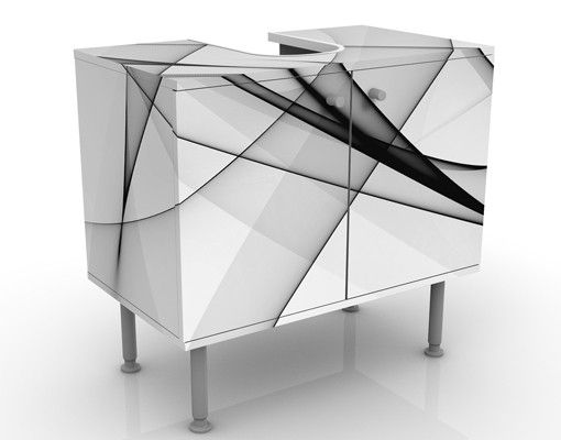 Waschbeckenunterschrank - Vibration - Badschrank Weiß Schwarz Grau