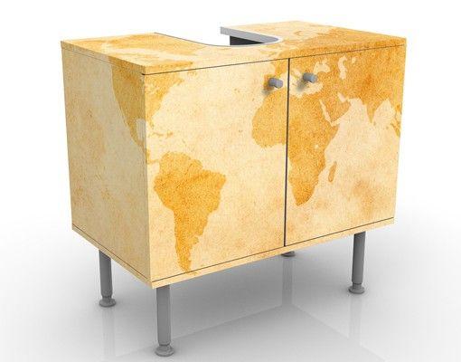 Waschbeckenunterschrank - Vintage Weltkarte - Badschrank Gelb