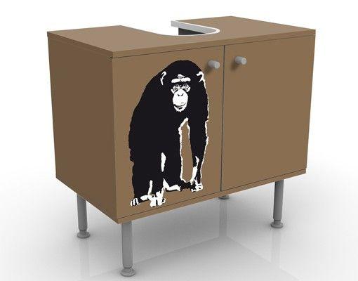 Waschbeckenunterschrank - No.TA10 Schimpanse - Badschrank Braun Schwarz
