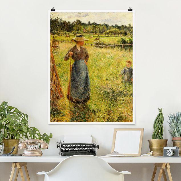 Poster - Camille Pissarro - Die Heumacherin - Hochformat 3:4