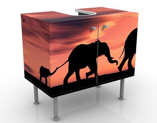 Waschbeckenunterschrank - Savannah Elefant Family - Badschrank Orange Rot Schwarz