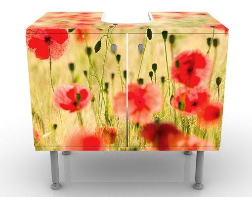 Waschbeckenunterschrank - Summer Poppies - Blumen Badschrank Rot