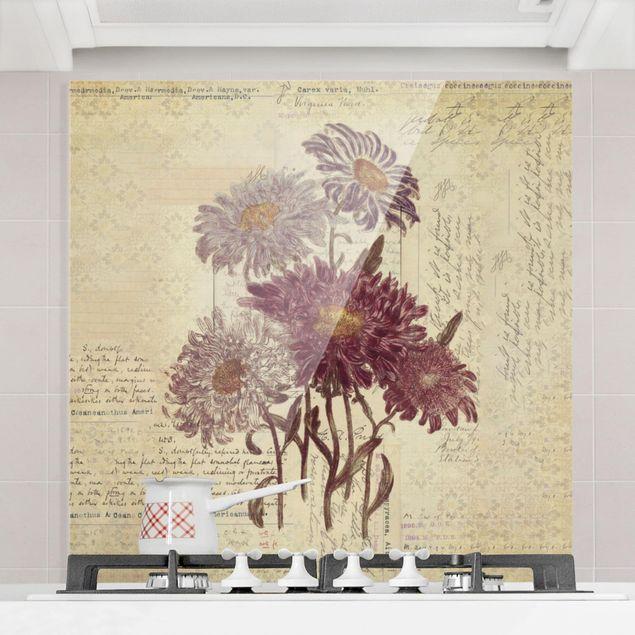 Glas Spritzschutz - Vintage Blumen mit Handschrift - Quadrat - 1:1