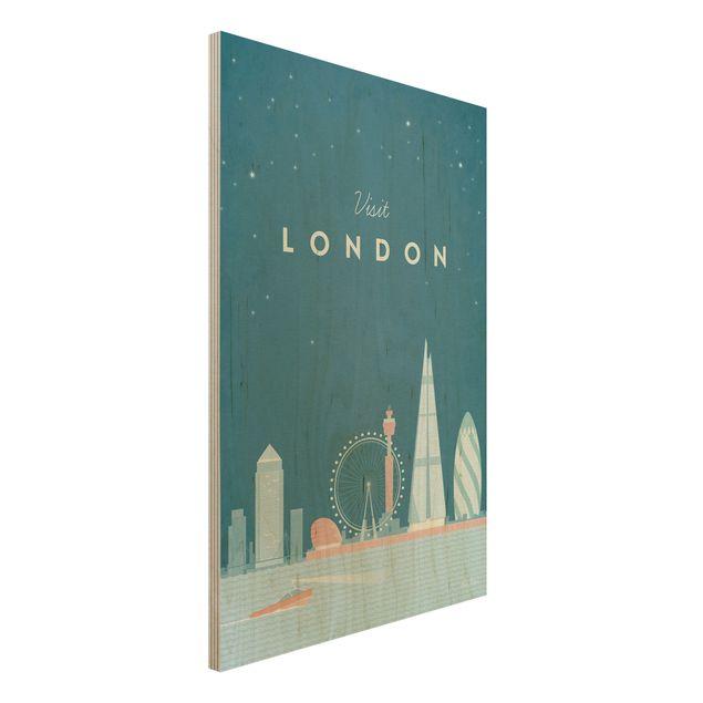 Holzbild - Reiseposter - London - Hochformat 3:2