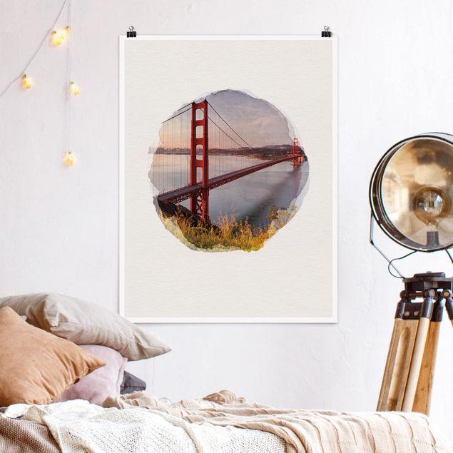 Poster - Wasserfarben - Golden Gate Bridge in San Francisco - Hochformat 4:3
