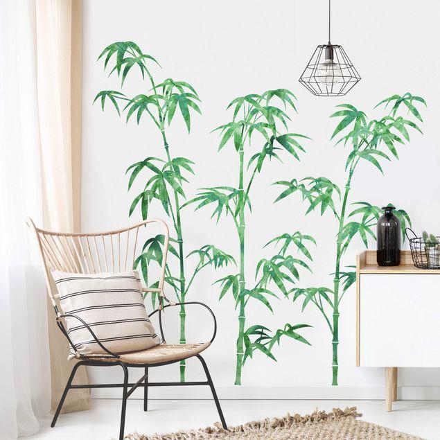 Wandtattoo - Aquarell Bambus Baum Grün