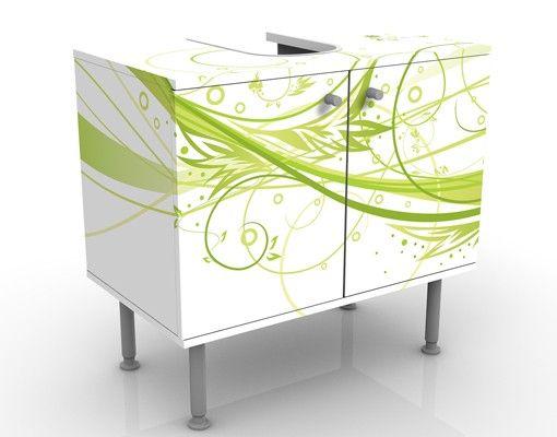 Waschbeckenunterschrank - March - Badschrank Weiß Grün