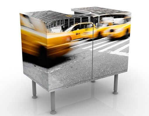 Waschbeckenunterschrank - Rasantes New York - Badschrank Gelb Grau
