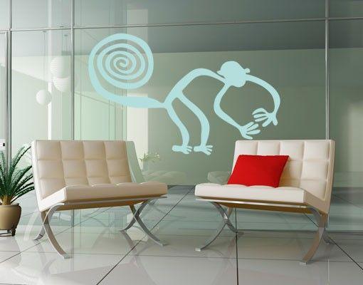 Fensterfolie - Fenstertattoo No.UL1040 Nazca Linien Affe - Milchglasfolie