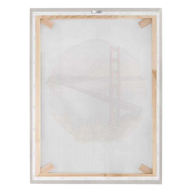 Leinwandbild - Wasserfarben - Golden Gate Bridge in San Francisco - Hochformat 4:3
