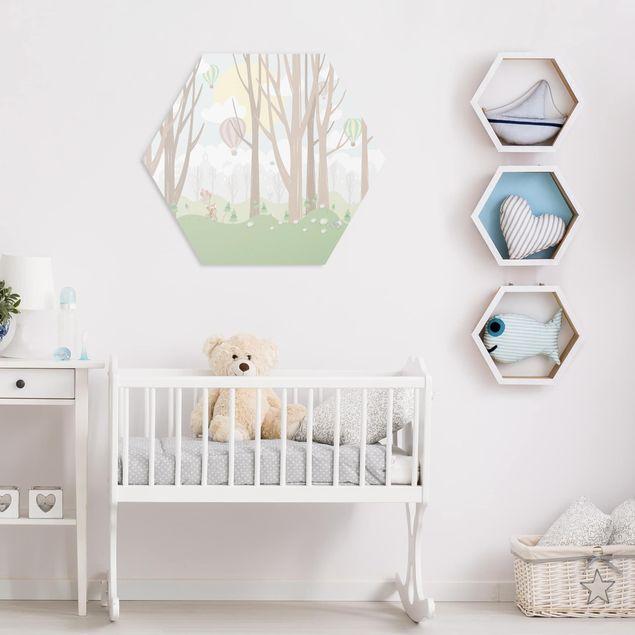 Hexagon Bild Forex - Sonne mit Bäumen und Heißluftballons