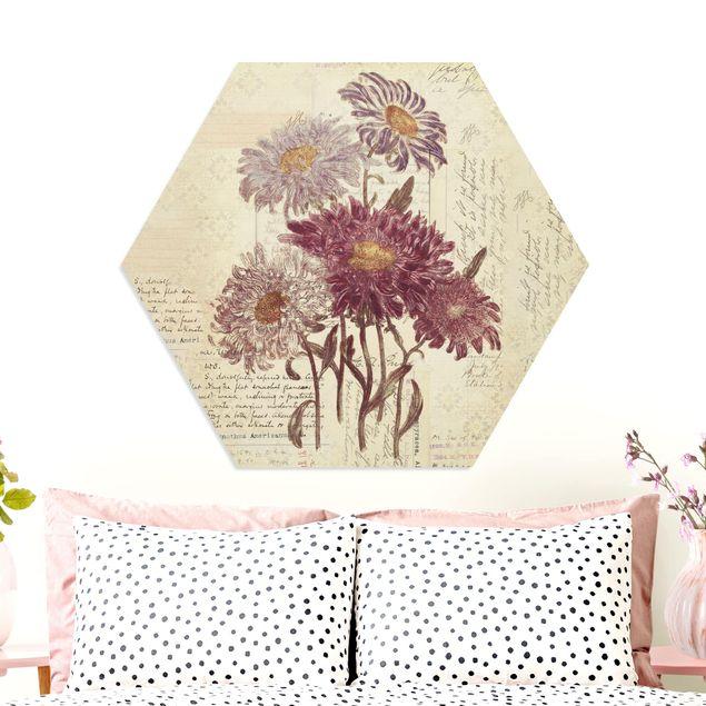 Hexagon Bild Forex - Vintage Blumen mit Handschrift