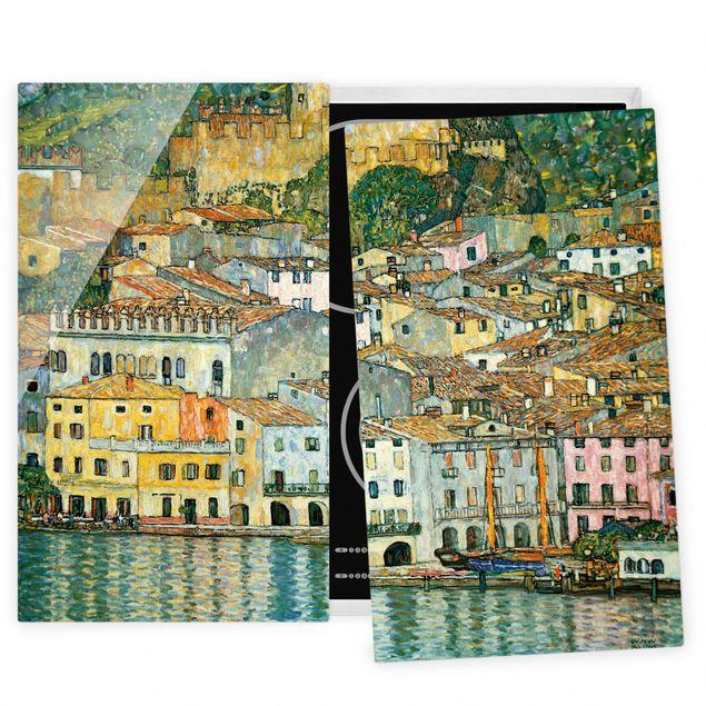 Herdabdeckplatte Glas - Gustav Klimt - Malcesine am Gardasee - 52x60cm