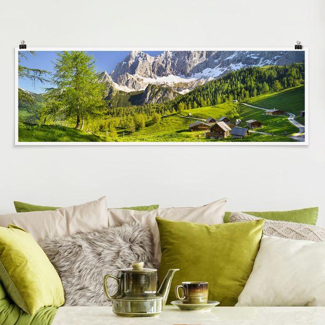 Poster - Steiermark Almwiese - Panorama Querformat