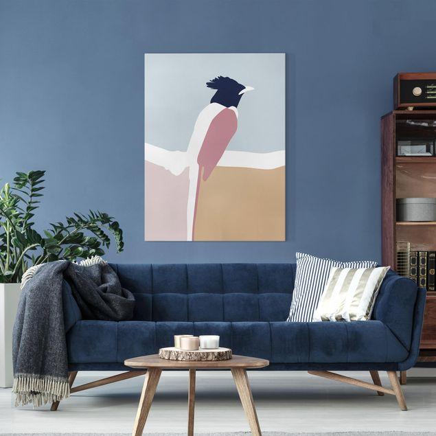 Leinwandbild - Line Art Vogel Pastell - Hochformat 4:3