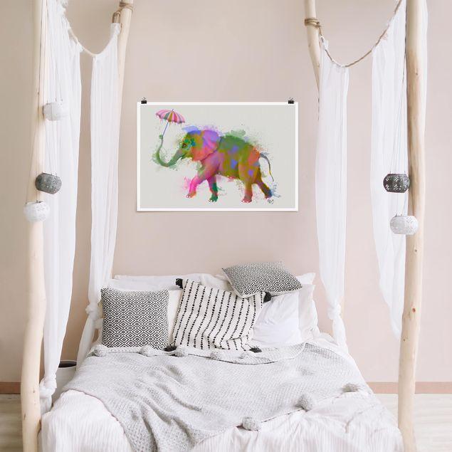 Poster - Regenbogen Splash Elefant - Querformat 2:3