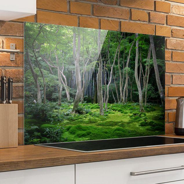 Spritzschutz Glas - Japanischer Wald - Querformat - 3:2