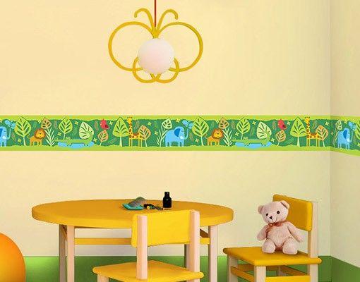 Wandtattoo Kinderzimmer Bordüre - Dschungel Bordüre - No.BP3 Zootiere