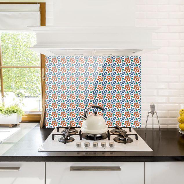 Glas Spritzschutz - Alhambra Mosaik mit Fliesenoptik - Querformat - 4:3