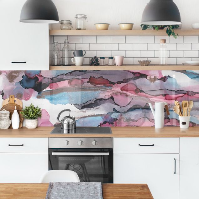 Küchenrückwand - Wellenreiten in Violett mit Roségold
