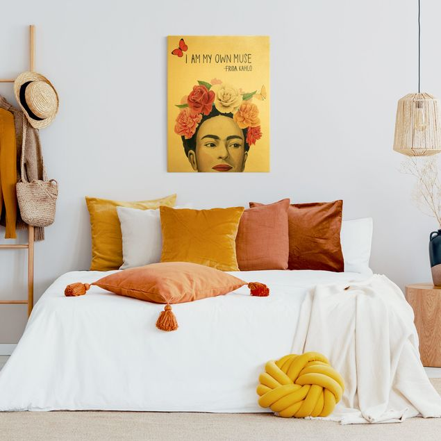 Leinwandbild Gold - Fridas Gedanken - Muse - Hochformat 3:4