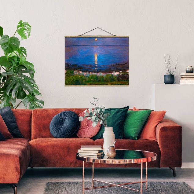 Stoffbild mit Posterleisten - Edvard Munch - Sommernacht am Meeresstrand - Querformat 4:3