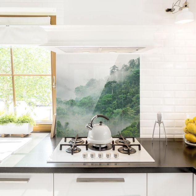 Glas Spritzschutz - Dschungel im Nebel - Quadrat - 1:1