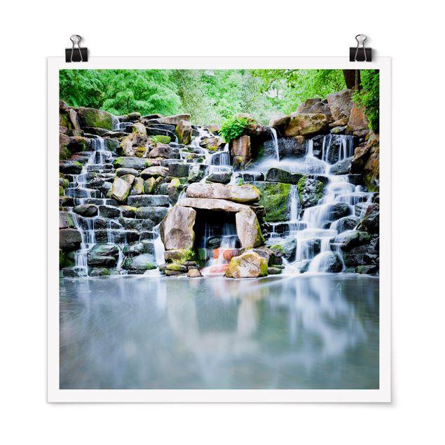 Poster - Wasserfall - Quadrat 1:1