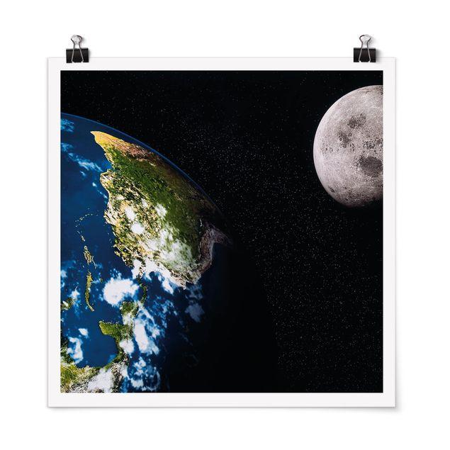 Poster - Moon and Earth - Quadrat 1:1