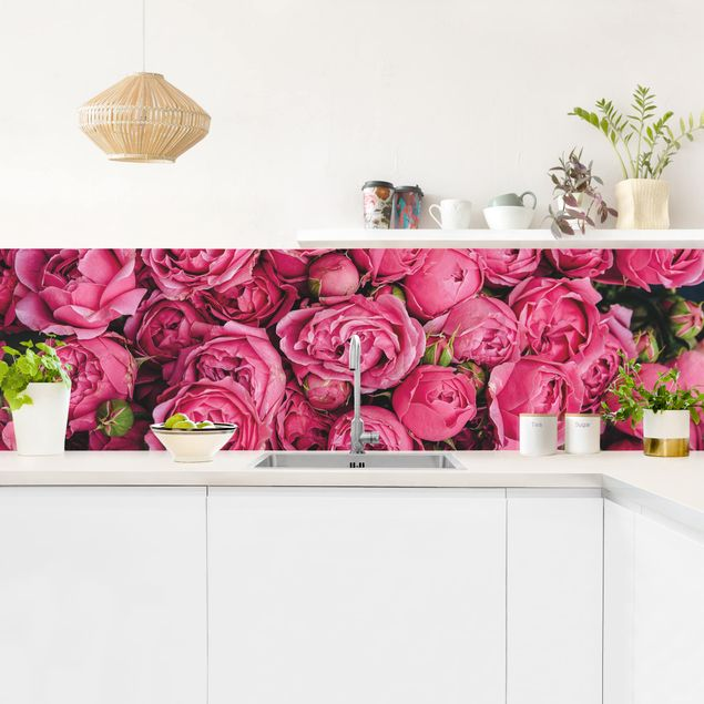 Küchenrückwand - Pinke Pfingstrosen