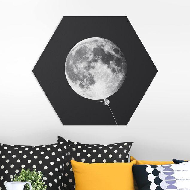 Hexagon Bild Forex - Jonas Loose - Luftballon mit Mond