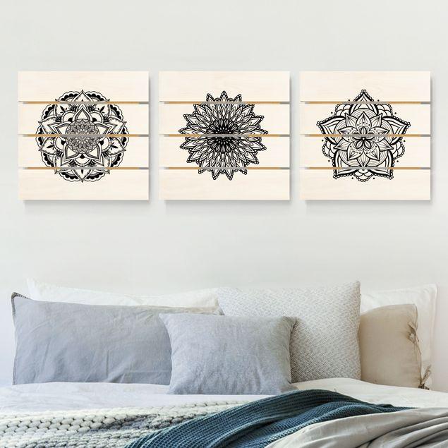 Holzbild 3-teilig - Mandala Blüte Sonne Illustration Set Schwarz Weiß - Quadrate 1:1