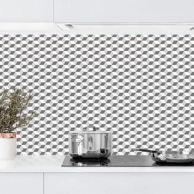 Küchenrückwand - Geometrischer Fliesenmix Würfel Grau