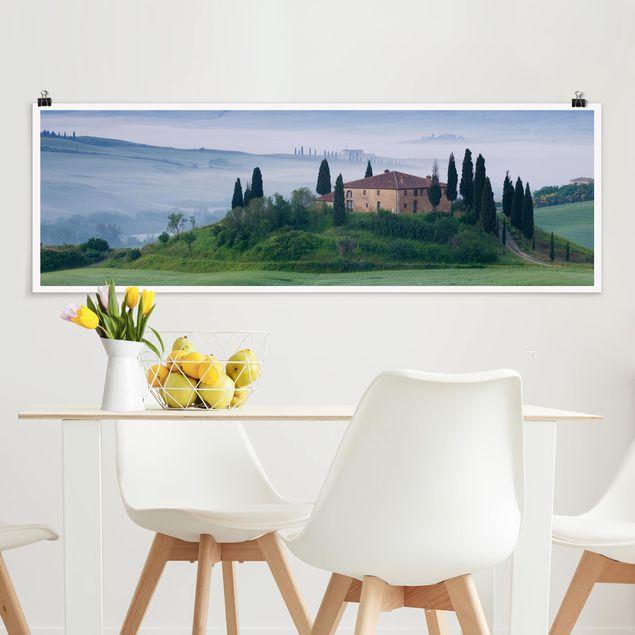 Poster - Sonnenaufgang in der Toskana - Panorama Querformat