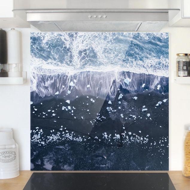 Glas Spritzschutz - Luftbild - Jökulsárlón in Island - Quadrat - 1:1