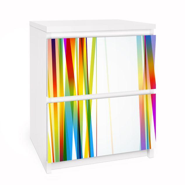 Möbelfolie für IKEA Malm Kommode - Selbstklebefolie Rainbow stripes