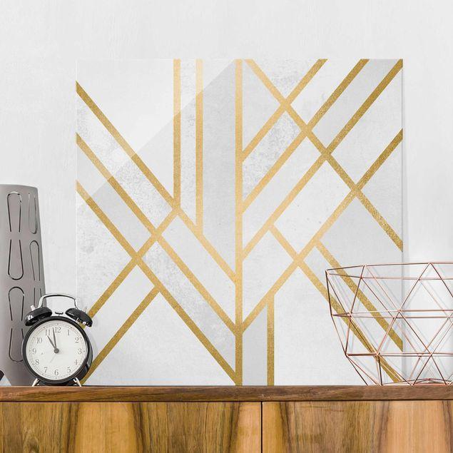 Glasbild - Art Deco Geometrie Weiß Gold - Quadrat 1:1