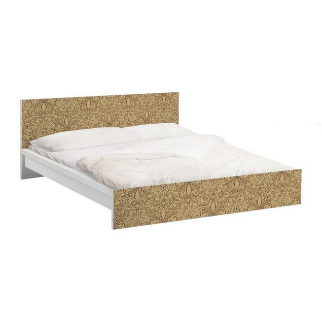 Möbelfolie für IKEA Malm Bett niedrig 160x200cm - Klebefolie Spirituelles Muster Beige