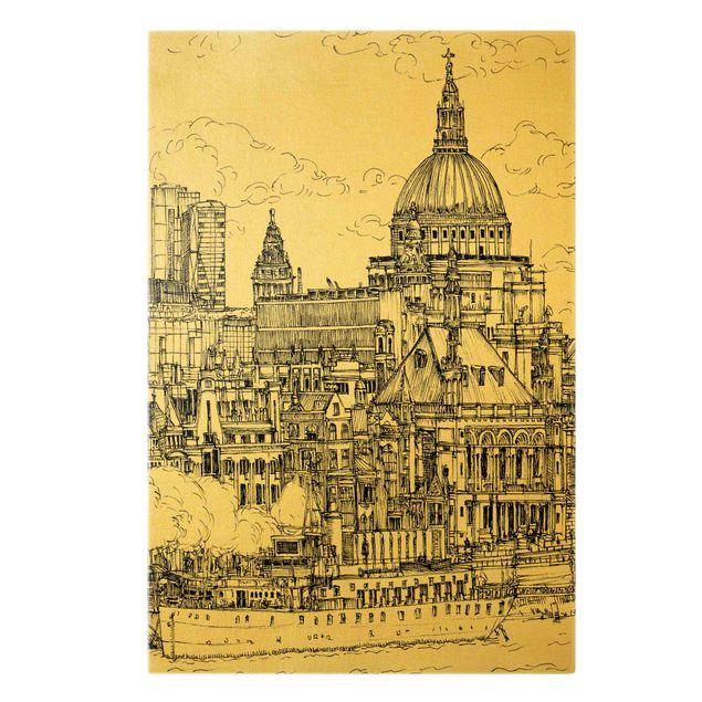 Leinwandbild Gold - Stadtstudie - Dom - Hochformat 2:3