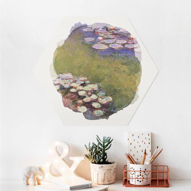 Hexagon Bild Alu-Dibond - Wasserfarben - Claude Monet - Seerosen