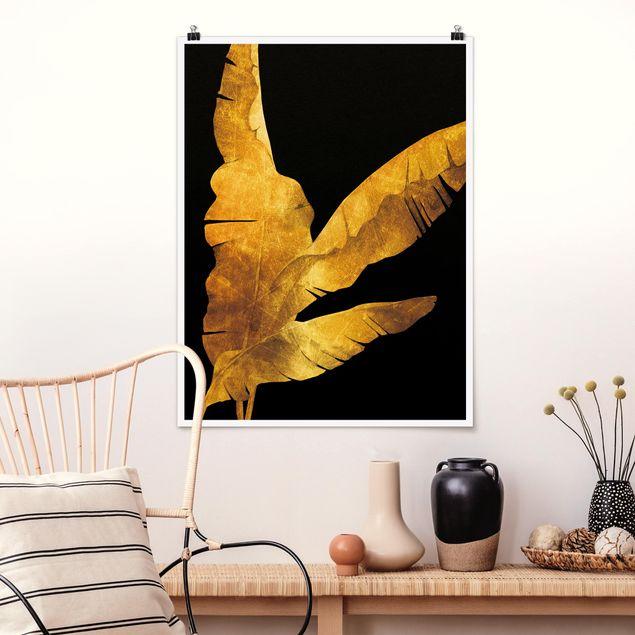 Poster - Gold - Bananenpalme auf Schwarz - Hochformat 4:3