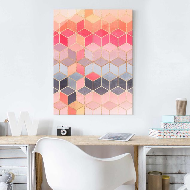 Glasbild - Buntes Pastell goldene Geometrie - Hochformat 4:3